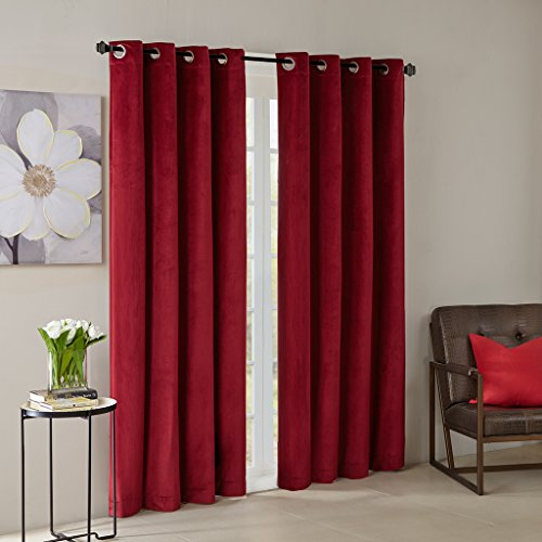 Solid Velvet Window Panel1 Window Panel:50x95RedMP40-3854