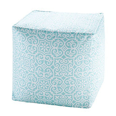 "Printed Fret 3M Scotchgard Outdoor Pouf1 Pouf:18x18x18""AquaMP31-3913"