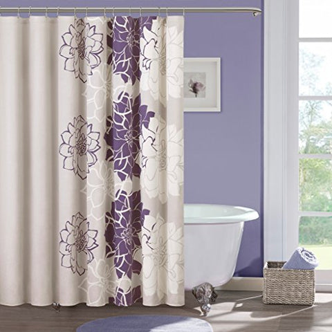 100 Cotton Sateen Floral Printed Shower Curtain1 Shower Curtain:72x72PurpleMP70-269