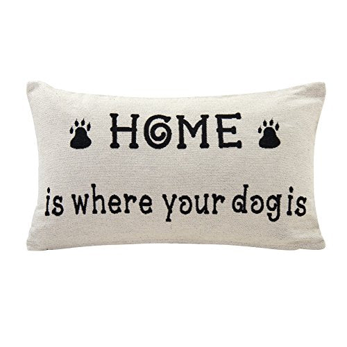 Decorative Toss Throw White Dog Lover Cotton Jacquard Printed Accent Pillow by Danya B.