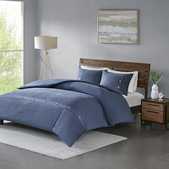 "3 Piece Cotton Waffle Weave Duvet Cover Set1 Duvet Cover:104""W x 92""L 2 King Shams:20""W x 36""L (2)NavyMP12-5635"