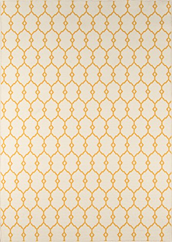"Momeni Rugs BAJA0BAJ-2YEL6796 Baja Collection Contemporary Indoor Outdoor Area Rug, 6'7"" x 9'6"", Yellow"