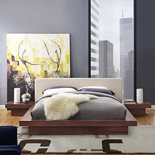 Freja 3 Piece Queen Fabric Bedroom Set - Walnut Beige