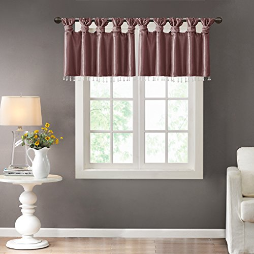 100 Polyester Twisted Tab Valance With Beads1 Valance:50W x 26LPurpleMP41-4476