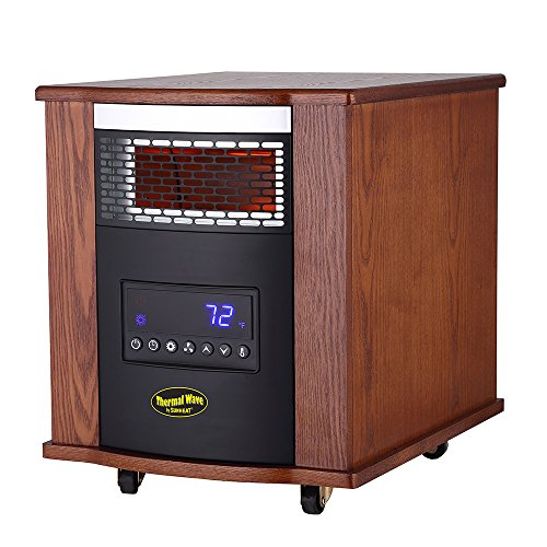 Thermal Wave by SUNHEAT TW1500-UV With UV Germicidal Air Purification Infrared Heater with Remote Control - Modern Oak