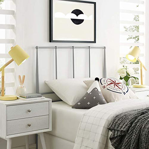 Kiana Twin Metal Stainless Steel Headboard - Gray