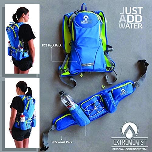 ExtremeMist Hydration Waist Pack - Water Bottle Holder Fanny Pack - Adjustable 2 Bottle Belt with Zipper Storage Pockets - for Climbing, Running, Cycling, Jogging, Hiking, Workouts (Blue, Small)