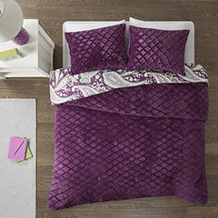 "Reversible Comforter Mini Set1 Comforter:86x90"" 2 Standard Shams:20x26"" (2)PurpleID10-1103"