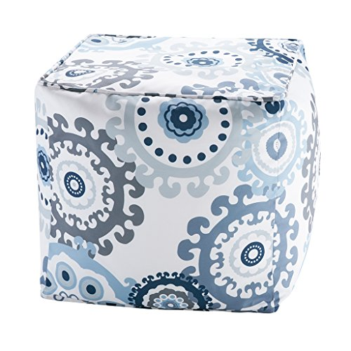 Printed Medallion 3M Scotchgard Outdoor Square Pouf1 Pouf:18x18x18