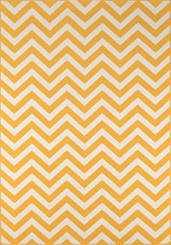 "Momeni Rugs BAJA0BAJ-9YEL5376 Baja Collection Contemporary Indoor Outdoor Area Rug, 5'3"" x 7'6"", Yellow"