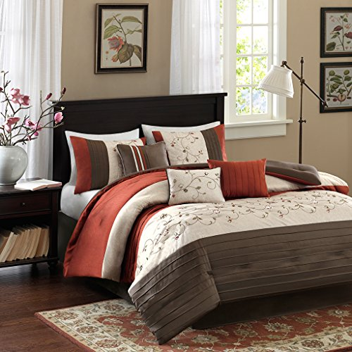"Embroidered 7 Piece Comforter Set1 Comforter:104x92"" 3 Decorative Pillows:18x18""/12x18""/12x16"" 2 King Shams:20x36""(2) 1 Bed Skirt:72x84+15""OrangeMP10-1368"
