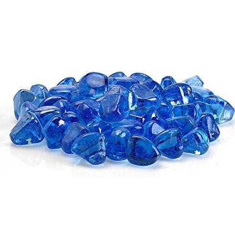 Midnight Blue Luster Zircon Fire Glass` 10 lb. Bag