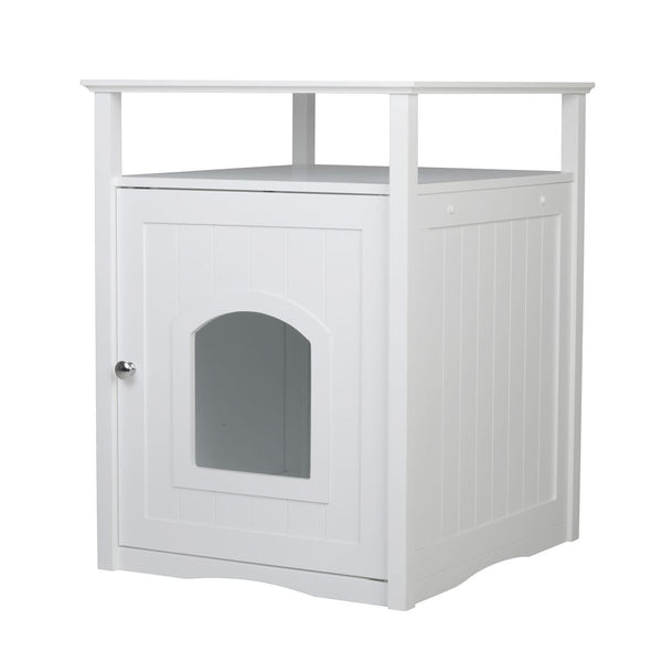 Cat Washroom Litter Box Cover / Night Stand Pet House` White