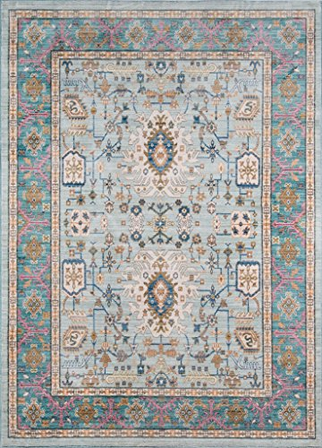 "Momeni Rugs RUSTIRR-05TEL3351 Rustic Romance Collection Contemporary Area Rug, 3'3"" x 5'1"", Teal Blue"