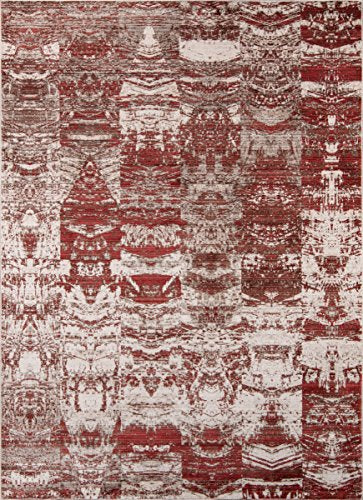 "Momeni Rugs RUSTIRR-01RED3351 Rustic Romance Collection Contemporary Area Rug, 3'3"" x 5'1"", Red"