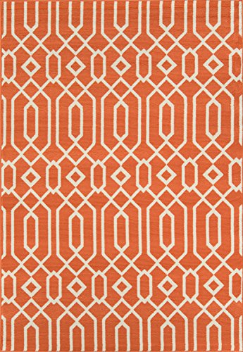 "Momeni Rugs BAJA0BAJ-3ORG6796, Baja Collection Contemporary Indoor & Outdoor Area Rug, Easy to Clean, UV protected & Fade Resistant, 6'7"" x 9'6"", Orange"