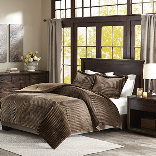 "Corduroy Plush Comforter Mini Set1 Comforter:104x90"" 2 King Shams:20x36+2""(2)BrownBASI10-0422"