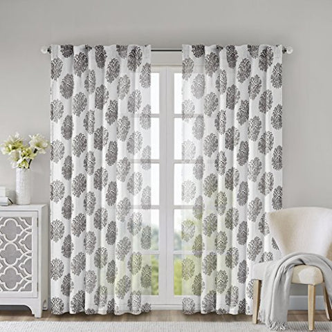 Anthro Burn Out Sheer Curtain1 Panel:52x95GreyWIN40-088