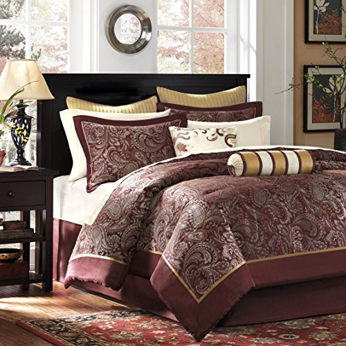12 Piece Complete Bed Set 1 Bedskirt:72x84+15 1 Flat Sheet:110x102 2 Euro Shams:26x26(2) 2 Pillowcases:20x40(2) 2 King Shams:20x36+2(2)1 Comforter:106x92 2 Pillows:18x18/6.5x18 1 Fitted Sheet:72x84+14RedMP10-321