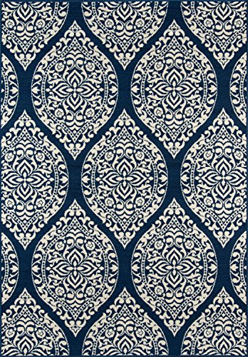"Momeni Rugs BAJA0BAJ17NVY6796 Baja Collection Contemporary Indoor Outdoor Area Rug, 6'7"" x 9'6"", Navy Blue"