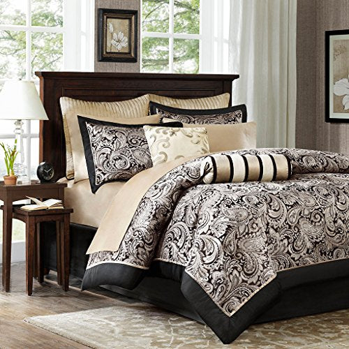12 Piece Complete Bed Set1 Decoratvie Pillow:6.5x181 Fitted Sheet:72x84+142 Euro Shams:26x26(2)2 Pillowcases:20x40(2)2 King Shams:20x36+2(2)1 Bedskirt:72x84+151 Comforter:106x921 Decoratvie Pillow:18x181 Flat Sheet:110x102BlackMP10-335