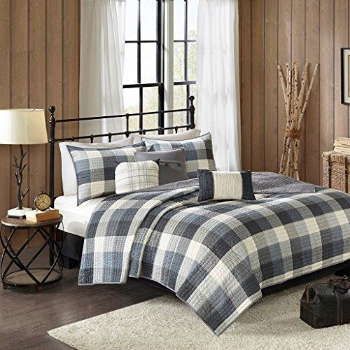 "6 Piece Herringbone Coverlet Set1 Coverlet:104""W x 92""L 2 King Shams:20""W x 36""L + 2""D (2) 3 Decorative Pillows:18""W x 18""L/16""W x 16""L/12""W x 18""LGreyMP13-4682"