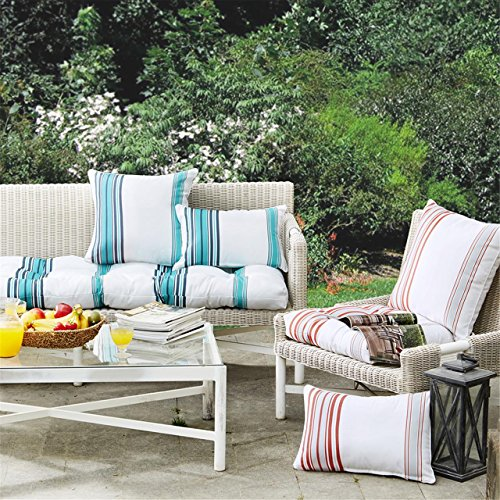 "Printed Stripe 3M Scotchgard Outdoor Square Pillow1 Pillow:20x20""CoralMP30-2887"
