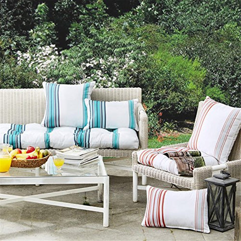 Printed Stripe 3M Scotchgard Outdoor Square Pillow1 Pillow:20x20CoralMP30-2887