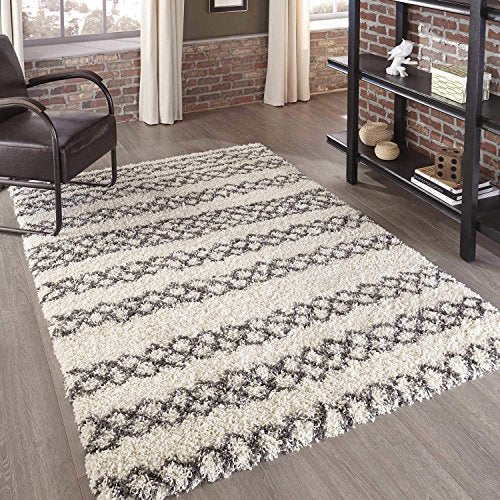 "Momeni Rugs MAYA0MAY-3BLU3B57 Maya Collection Ultra Thick Pile Shag Area Rug, 3'11"" x 5'7"", Blue"