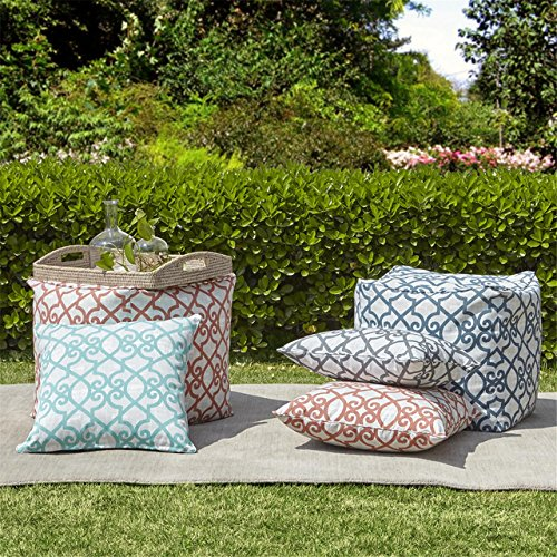 "Fretwork 3M Scotchgard Outdoor Square Pillow1 Pillow:20x20""AquaMP30-2857"