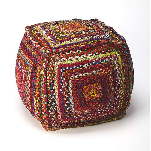 BUTLER GYPSY MULTICOLOR BRAIDED POUFFE