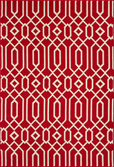 "Momeni Rugs BAJA0BAJ-3RED6796, Baja Collection Contemporary Indoor & Outdoor Area Rug, Easy to Clean, UV protected & Fade Resistant, 6'7"" x 9'6"", Red"