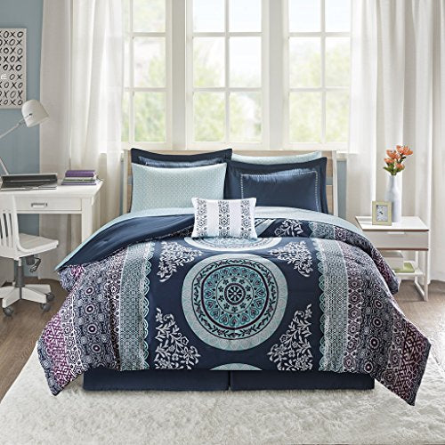 "Comforter and Sheet Set1 Comforter:68""W x 86""L 1 Standard Sham:20""W x 26""L + 2""D 1 Bedskirt:39""W x 75""L + 14""D 1 Decorative Pillow:12""W x 16""L 1 Flat Sheet:66""W x 96""L 1 Fitted Sheet:39""W x 75""L + 12""D 1 Standard Pillowcase:20""W x 30""LNavyID10-1374"
