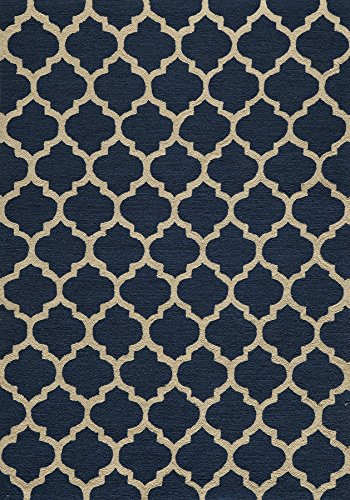 Momeni Rugs GEO00GEO-4NVY2030 Geo Collection, Hand Hooked Contemporary Area Rug, 2' x 3', Navy Blue