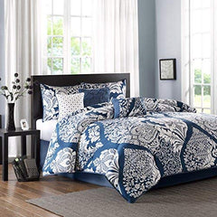 "7 Piece Cotton Printed Comforter Set1 Comforter:104x92"" 2 King Shams:20x36+2"" (2) 1 Bedskirt:78x80+15"" 3 Dec Pillows:18x18""/16x16""/12x16""IndigoMP10-3830"