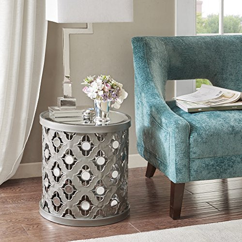 Quatrefoil Mirror Accent Table1 Accent Table:16.25Wx16.25Dx18H&quotSilverMP120-0006