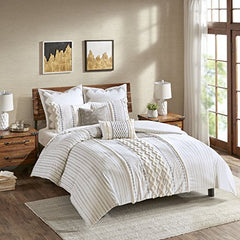 "Cotton Duvet Cover Mini Set1 Duvet Cover:104""W x 92""L 2 King Shams:20""W x 36""L  (2)IvoryII12-997"