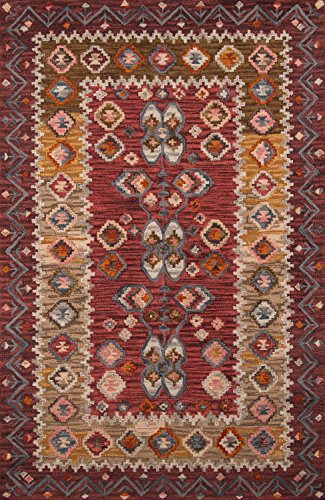 Momeni Rugs TANGITAN-1RED5080 Tangier Collection, 100% Wool Hand Tufted Tip Sheared Transitional Area Rug, 5' x 8', Red