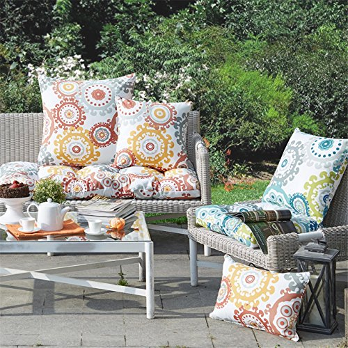 "Printed Medallion 3M Scotchgard Outdoor Square Pillow1 Pillow:20x20""BlueMP30-2869"