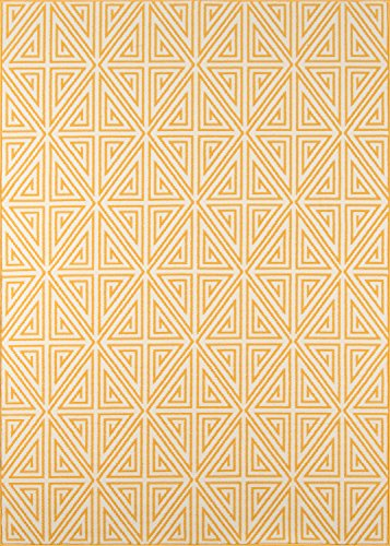 "Momeni Rugs BAJA0BAJ-4YEL5376 Baja Collection Contemporary Indoor Outdoor Area Rug, 5'3"" x 7'6"", Yellow"