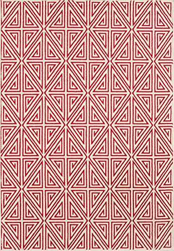 "Momeni Rugs BAJA0BAJ-4RED2346, Baja Collection Contemporary Indoor & Outdoor Area Rug, Easy to Clean, UV protected & Fade Resistant, 2'3"" x 4'6"", Red"