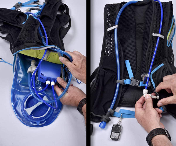 EXTREMEMIST Backpack Misting System | Convert Your Hydration Backpack to Spray a Refreshing Mist | Mister Retrofit for Water Bladder Backpacks | Includes Pump, Nozzle, Remote, & Rechargeable Battery