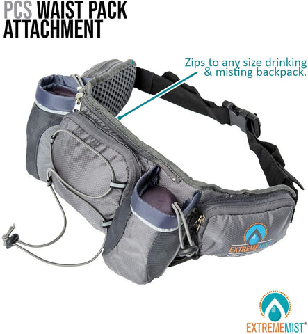 EXTREMEMIST Hydration Waist Pack - Water Bottle Holder Fanny Pack - Adjustable 2 Bottle Belt with Zipper Storage Pockets - for Climbing, Running, Cycling, Jogging, Hiking, Workouts