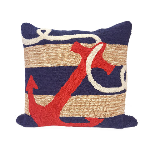 Liora Manne Frontporch Anchor Indoor/Outdoor Pillow Navy 18 Square