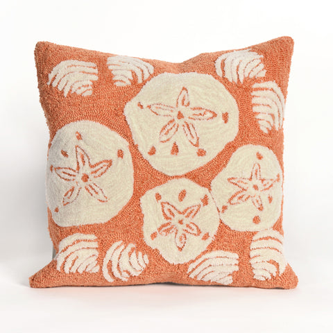 Liora Manne Frontporch Shell Toss Indoor/Outdoor Pillow Orange 18 Square