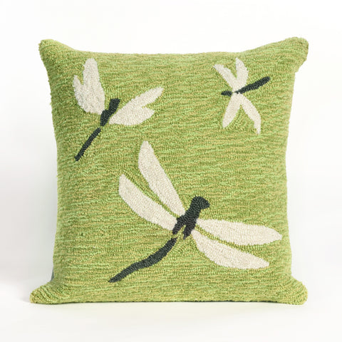Liora Manne Frontporch Dragonfly Indoor/Outdoor Pillow Green 18 Square