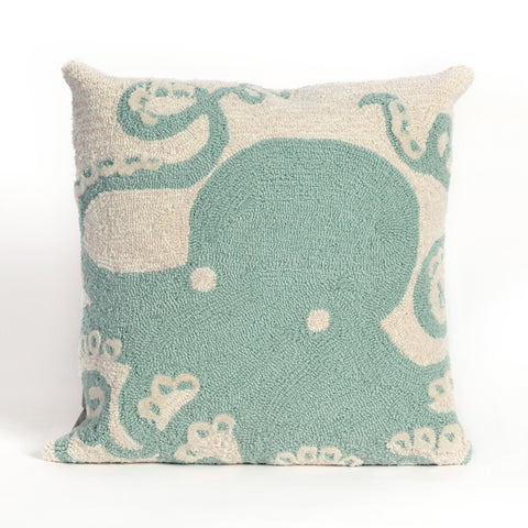 Liora Manne Frontporch Octopus Indoor/Outdoor Pillow Blue 18 Square