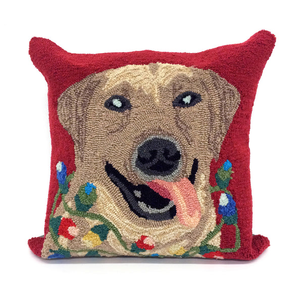 Liora Manne Frontporch Happy Holidays Indoor/Outdoor Pillow Red 18