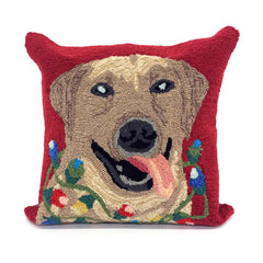"Liora Manne Frontporch Happy Holidays Indoor/Outdoor Pillow Red 18"" Square"