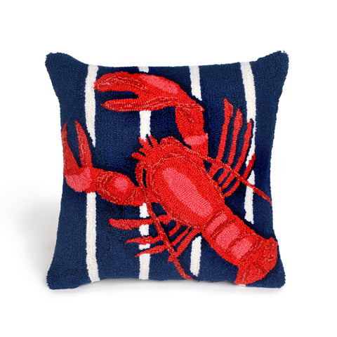 Liora Manne Frontporch Lobster On Stripes Indoor/Outdoor Pillow Navy 18 Square